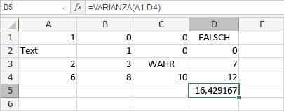 VARIANZA-Funktion