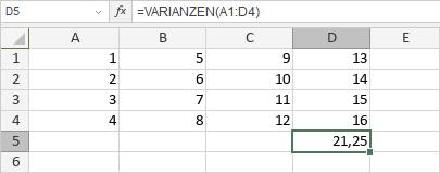 VARIANZEN-Funktion