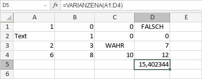 VARIANZENA-Funktion
