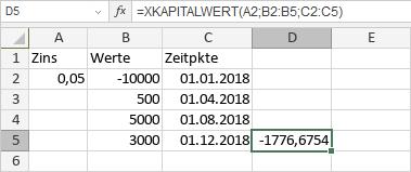 XKAPITALWERT-Funktion