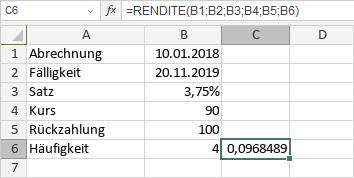 RENDITE-Funktion