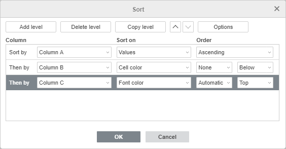 Custom Sort window