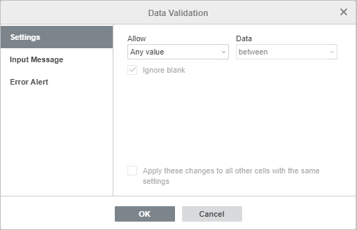 Data validation - settings window
