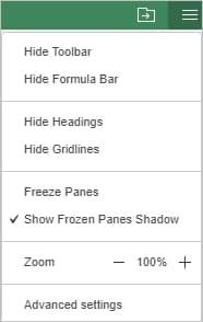 Freeze panes pop-up menu