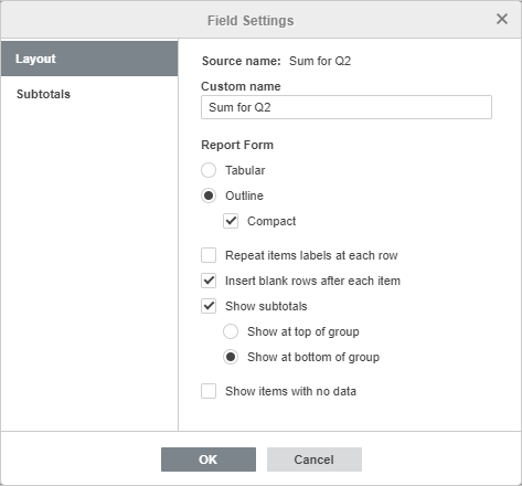 Pivot table Filters field settings