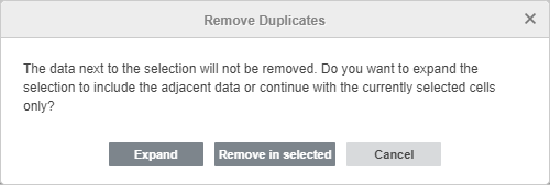 Remove Duplicates warning