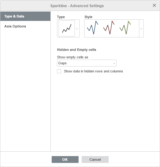 Sparkline Advanced Settings window