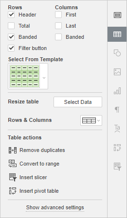 Table settings tab