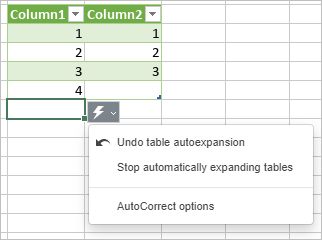 Undo table autoexpansion
