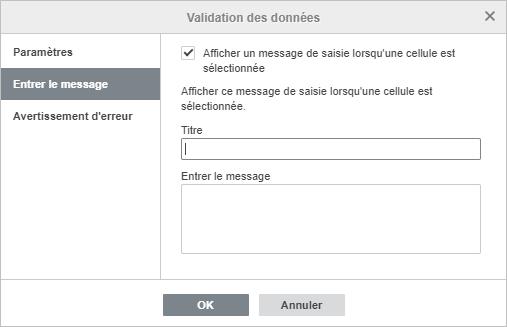 Validation des données - Paramètres de message de saisie