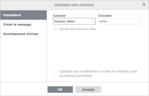 La fenêtre Paramètres - Validation des données