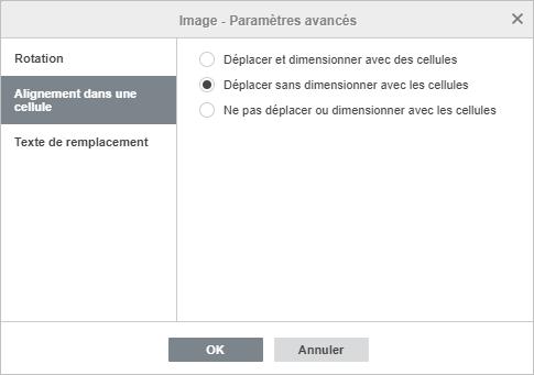 La fenêtre Image - Paramètres avancés Alignement dans une cellule