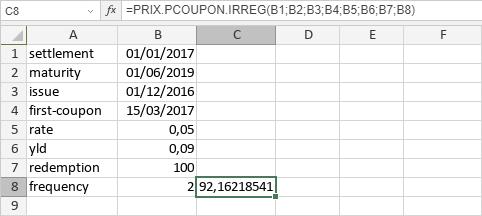 Fonction PRIX.PCOUPON.IRREG