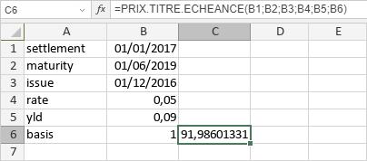 Fonction PRIX.TITRE.ECHEANCE