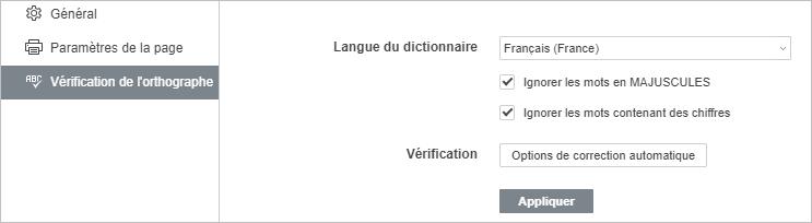 Paramètres de vérification de l'orthographe