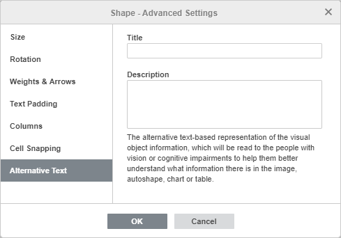 Shape - Advanced Settings: Alternative Text