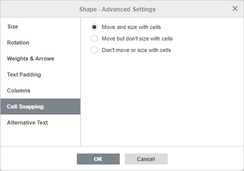 Shape - Advanced Settings: Cell Snapping
