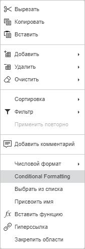 Условное форматирование контекстное меню
