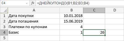 Функция ДНЕЙКУПОНДО