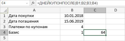 Функция ДНЕЙКУПОНПОСЛЕ