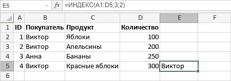 Функция ИНДЕКС
