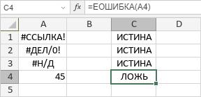Функция ЕОШИБКА