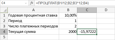 Функция ПРОЦПЛАТ