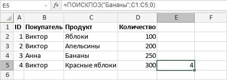 Функция ПОИСКПОЗ