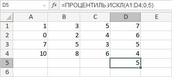 Функция ПРОЦЕНТИЛЬ.ИСКЛ