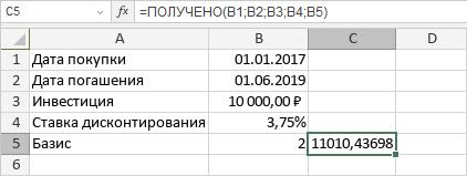 Функция ПОЛУЧЕНО