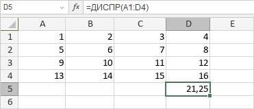 Функция ДИСПР