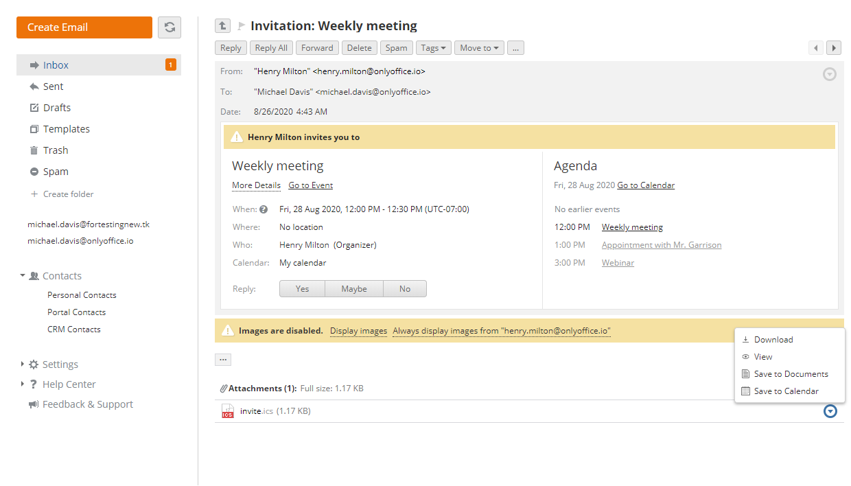 View Calendar Invitations