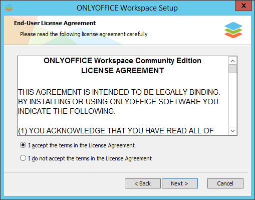 How to deploy ONLYOFFICE Workspace for Windows on a local server? Step 3