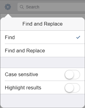 Search options panel