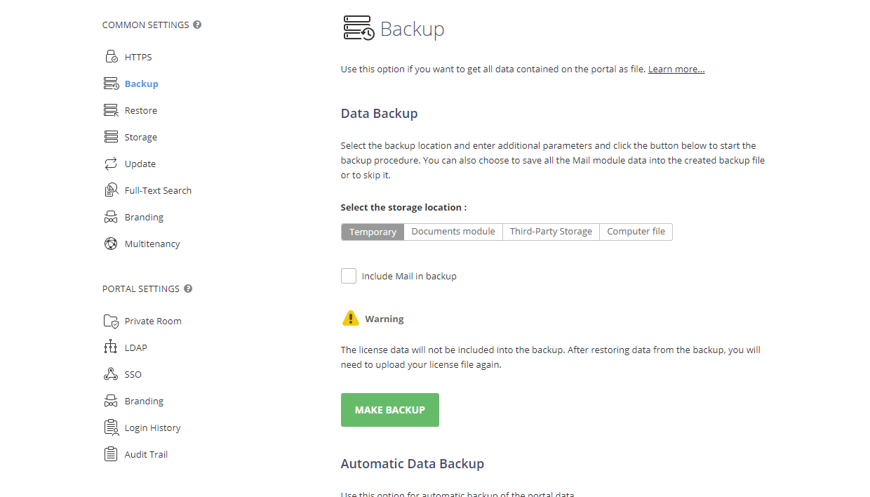 Creating Backup manually