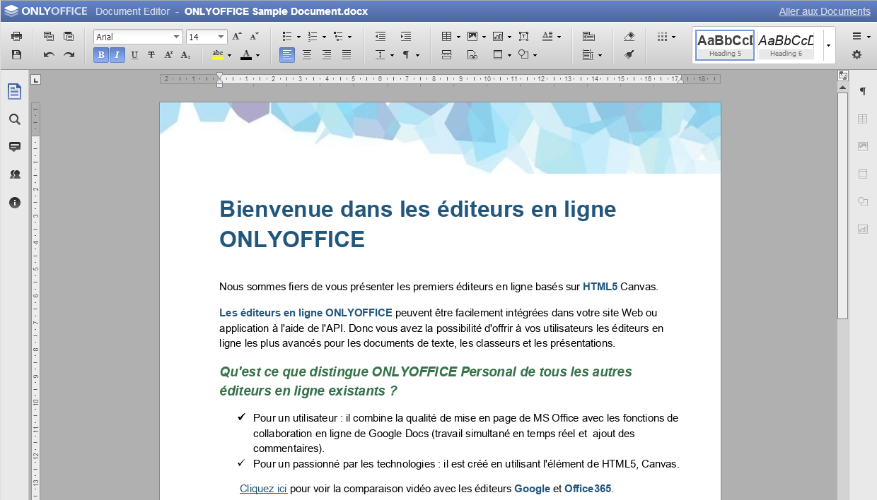 Modification du document de texte