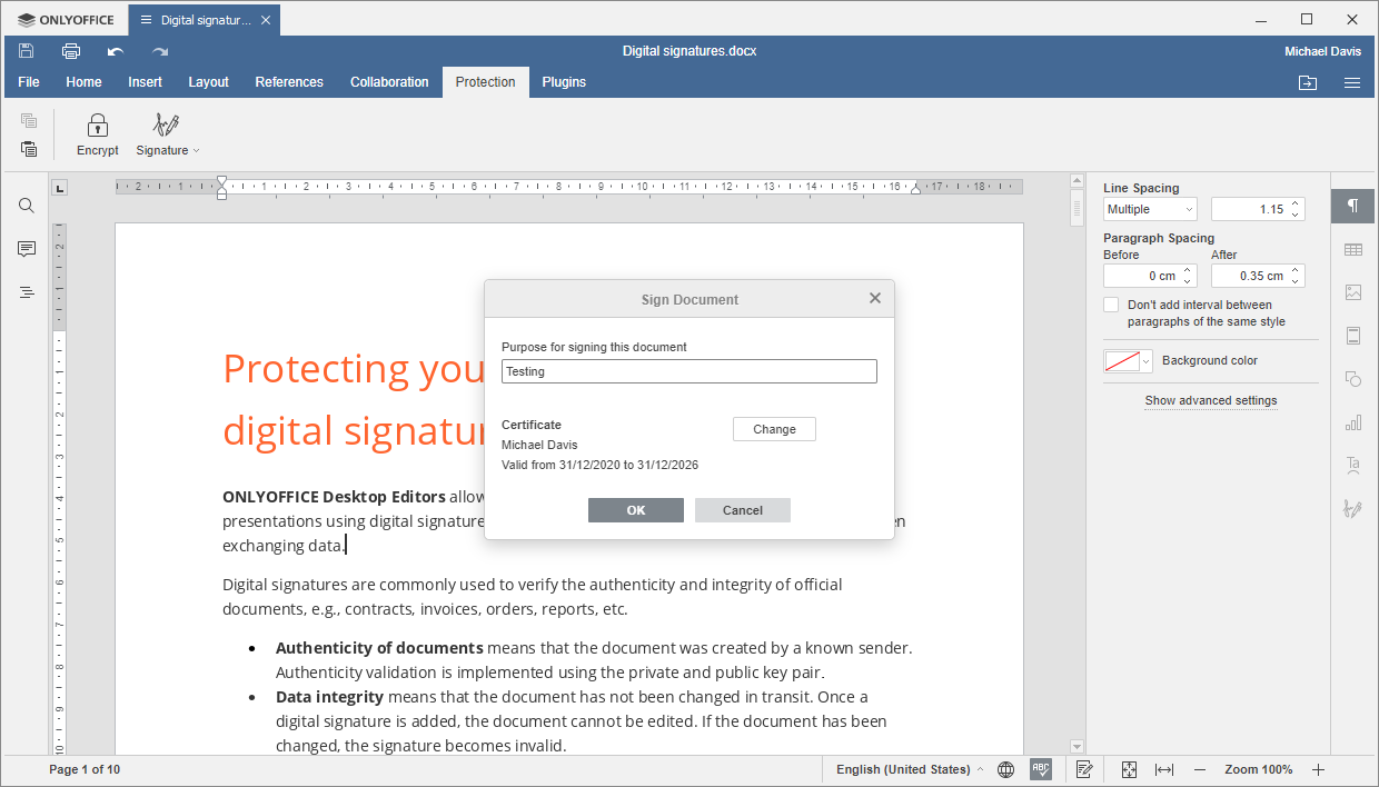 Sign Document window