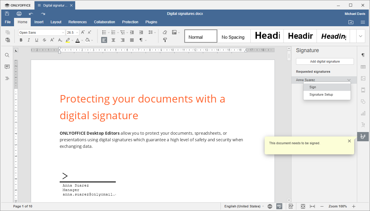Requested signatures