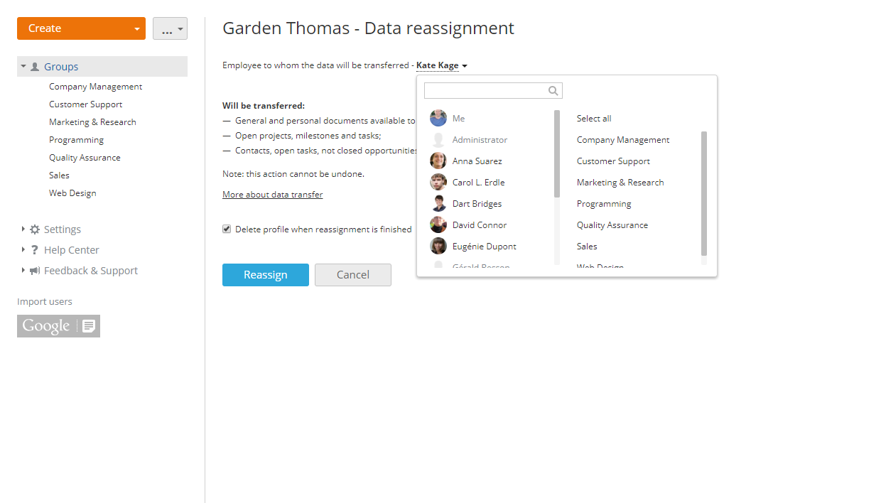 Reassigning data