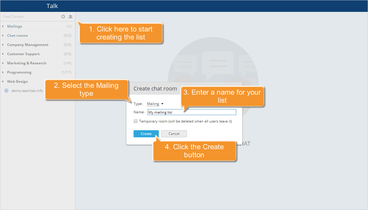How to create a mailing list in Talk? Step 2