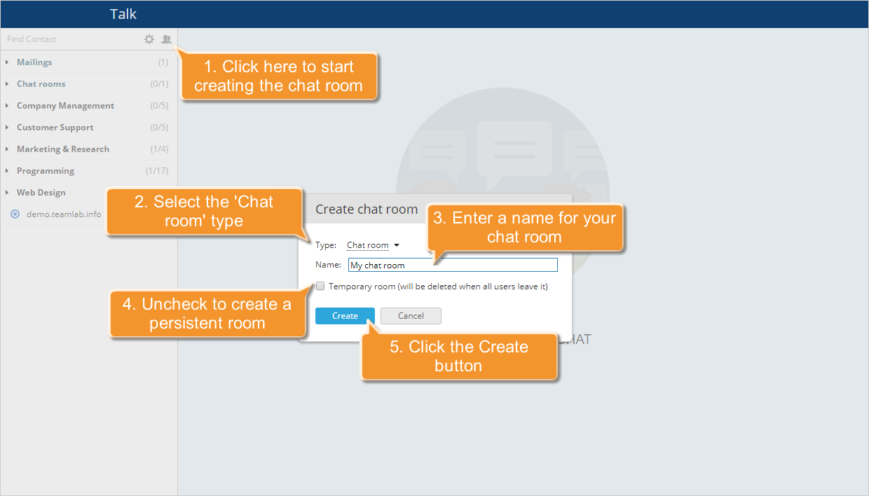 How to create a chat room using Talk? Step 2