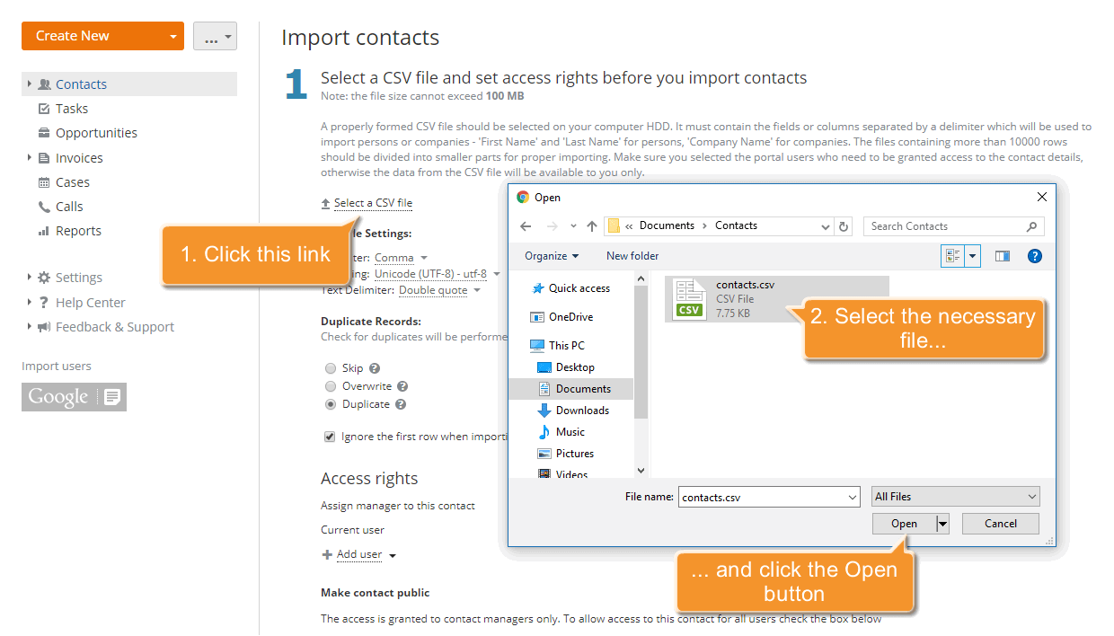 How to add contacts to CRM in bulk? Step 3