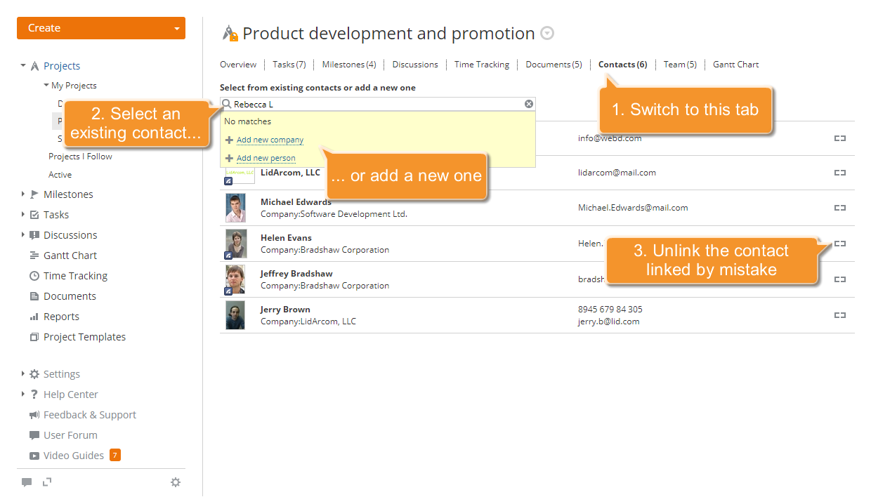 How to link your project with a CRM contact? Step 3