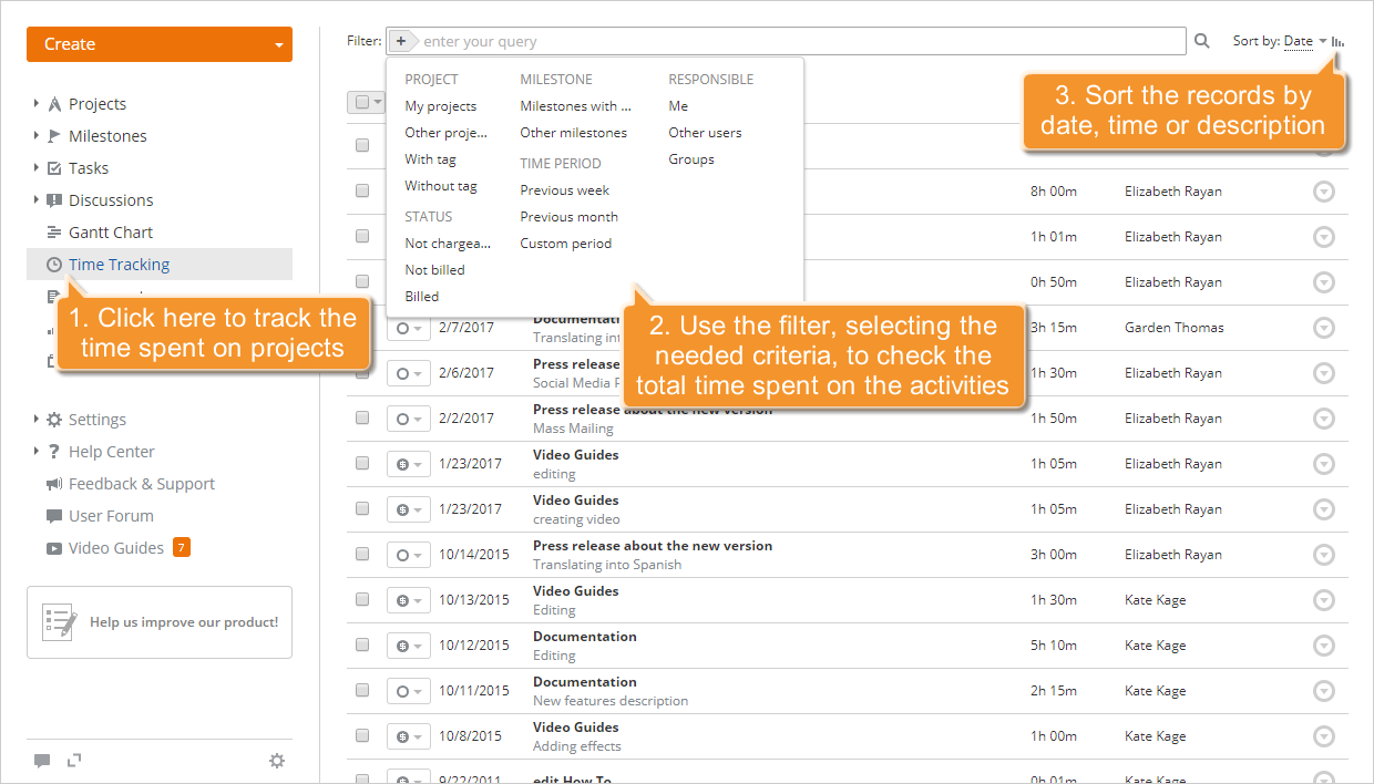 how to track the work time efficiently onlyoffice