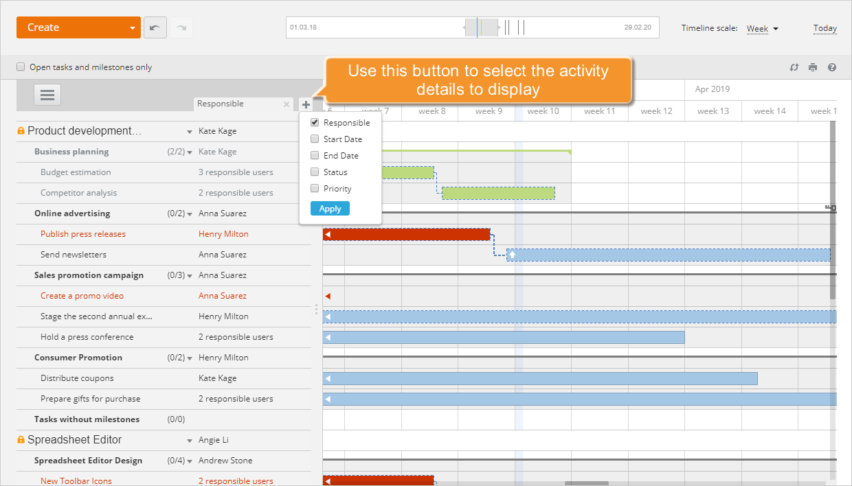 How to manage your project using the Gantt chart? Step 3