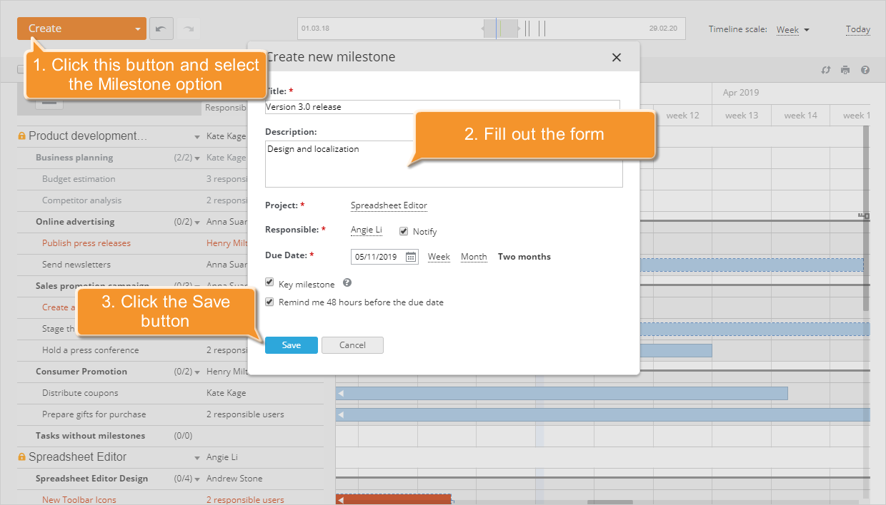 How to manage your project using the Gantt chart? Step 4