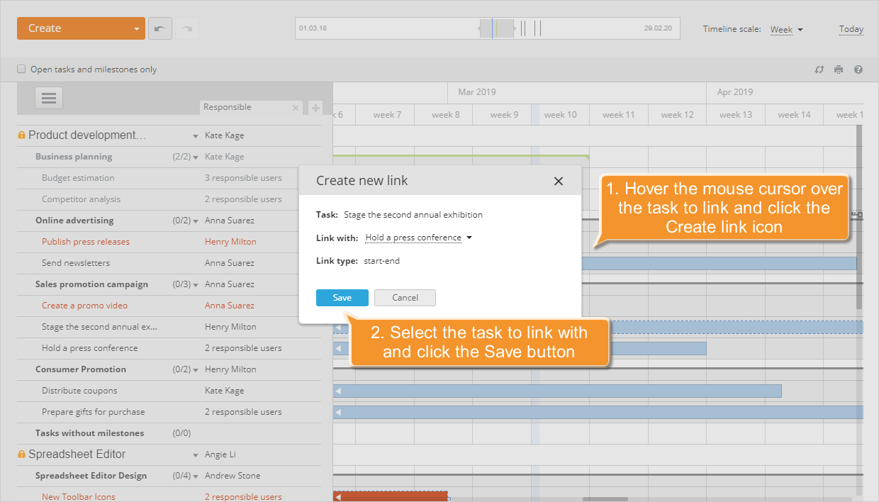 How to manage your project using the Gantt chart? Step 6