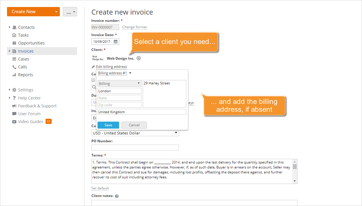 How To Create Invoices For Your Clients ONLYOFFICE - Create billing invoice
