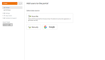 How to add users using the contact information from Yahoo, Google? Step 1