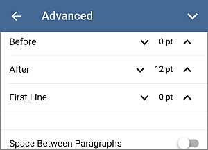 Paragraph spacing settings